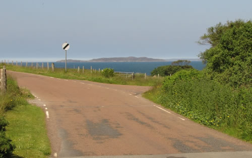 The turn off to Laide Slipway on the road to Mellon Udrigle
