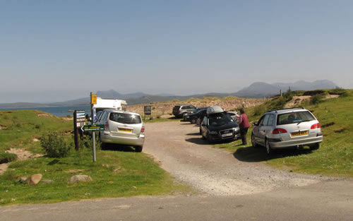 The car park for Mellon Udrigle beach